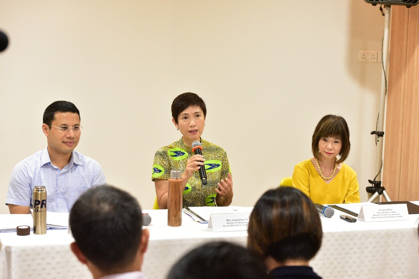 (From left) Minister Desmond Lee, Minister Josephine Teo and SMS Dr Amy Khor addressing the media during the Joint-Ministerial media conference on Marriage and Parenthood at My First Skool.